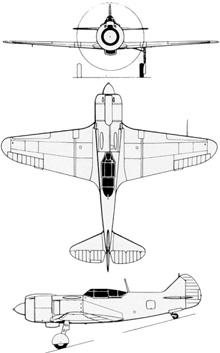Plan 3 vues du Lavotchkin La-5