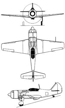 Plan 3 vues du Lavotchkin La-9 / La-11 Fang