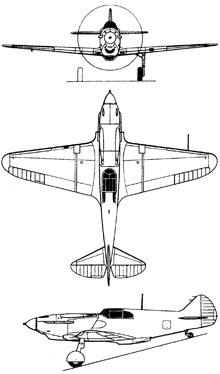 Plan 3 vues du Lavotchkin LaGG-3