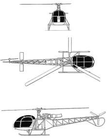 Plan 3 vues du Aérospatiale SA.315 Lama