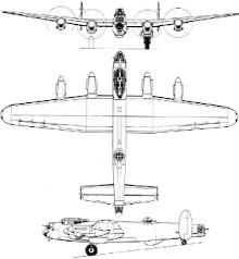 Plan 3 vues du Avro  Lancaster