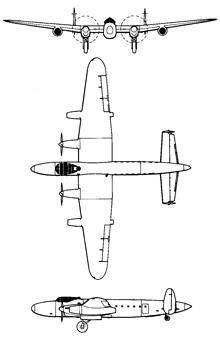 Plan 3 vues du Avro Lancastrian