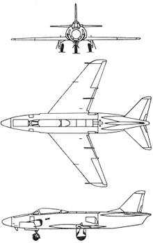 Plan 3 vues du Saab J32/A32 Lansen