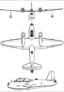 Plan 3 vues du Saunder-Roe S.36 Lerwick