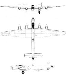 Plan 3 vues du Avro Lincoln