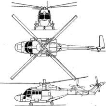 Plan 3 vues du Westland  Lynx
