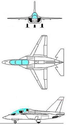 Plan 3 vues du Alenia-Aermacchi M-346 Master