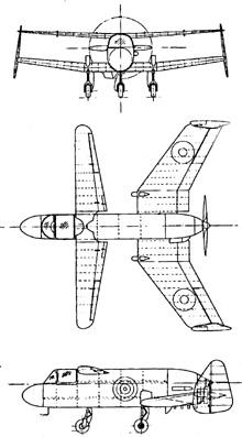Plan 3 vues du Miles M.35/M.39 Libellula