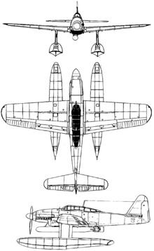 Plan 3 vues du Aichi M6A Seiran