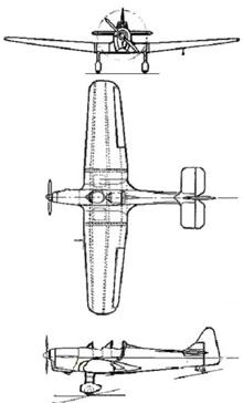Plan 3 vues du Miles M.14 Magister