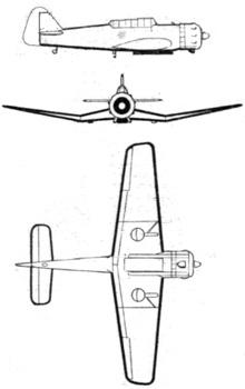 Plan 3 vues du Miles M.25 Martinet