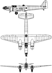 Plan 3 vues du Bloch MB.131