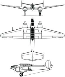 Plan 3 vues du Bloch MB.174/175
