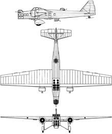 Plan 3 vues du Bloch MB.200