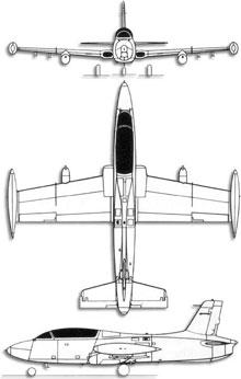 Plan 3 vues du Aermacchi M.B.326