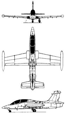 Plan 3 vues du Aermacchi MB-339