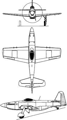 Plan 3 vues du Martin-Baker MB5
