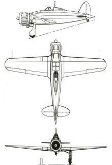 Plan 3 vues du Macchi MC.200 Saetta