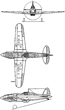 Plan 3 vues du Macchi MC.202 Folgore
