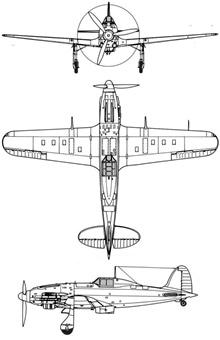 Plan 3 vues du Macchi MC-205 Veltro