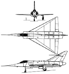 Plan 3 vues du Dassault MD.550 Mystère Delta / Mirage I
