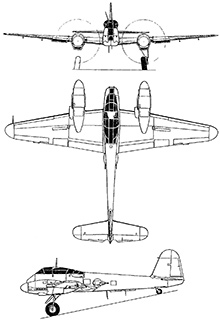 Plan 3 vues du Messerschmitt Me 210