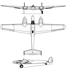 Plan 3 vues du Messerschmitt Me 261
