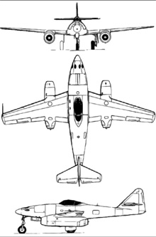 Plan 3 vues du Messerschmitt Me 262 Schwalbe