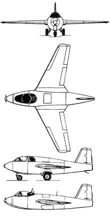 Plan 3 vues du Messerschmitt Me 263