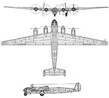Plan 3 vues du Messerschmitt Me 264 Amerikabomber