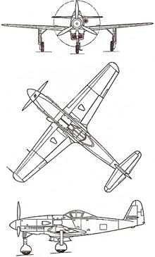 Plan 3 vues du Messerschmitt Me 309