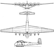 Plan 3 vues du Messerschmitt Me 323 Gigant