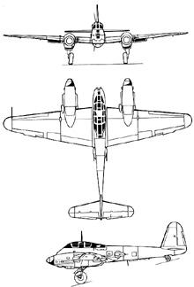 Plan 3 vues du Messerschmitt Me 410 Hornisse