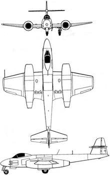 Plan 3 vues du Gloster G.41 Meteor