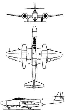 Plan 3 vues du Armstrong-Whitworth Meteor NF