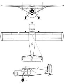 Plan 3 vues du Max Holste  MH.1521 Broussard