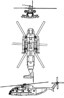 Plan 3 vues du Sikorsky MH-53 Pave Low