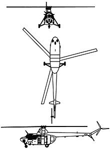 Plan 3 vues du Mil Mi-1  'Hare'