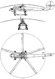 Plan 3 vues du Mil Mi-10  'Harke'