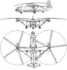 Plan 3 vues du Mil Mi-12  'Homer'