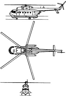 Plan 3 vues du Mil Mi-14  'Haze'