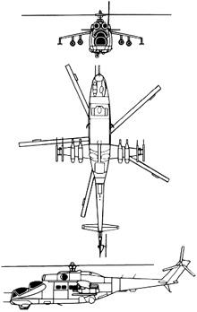 Plan 3 vues du Mil Mi-24  'Hind'