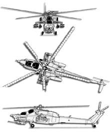 Plan 3 vues du Mil Mi-28  'Havoc'