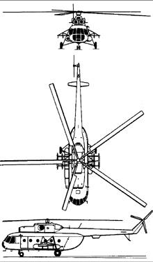 Plan 3 vues du Mil Mi-8  'Hip'