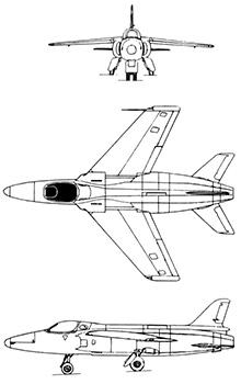 Plan 3 vues du Folland Fo.139 Midge