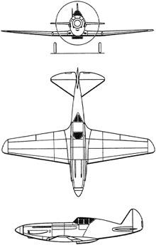 Plan 3 vues du Mikoyan-Gurevich MiG-1/3