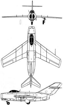 Plan 3 vues du Mikoyan-Gurevich MiG-15  'Fagot'