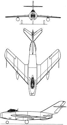 Plan 3 vues du Mikoyan-Gurevich MiG-17  'Fresco'