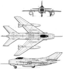 Plan 3 vues du Mikoyan-Gurevich MiG-19  'Farmer'