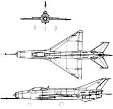 Plan 3 vues du Mikoyan-Gurevich MiG-21  'Fishbed'